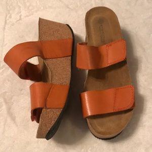 ERIC MICHAEL Orange Cork Platform Sandals - Sz 9.5